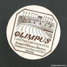 Coleccionismo de vinos y licores: POSAVASO CAFETERIA OLIMPUS CAFETERIA RESTAURANTE VLLADOLID. Lote 194348073