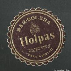 Coleccionismo de vinos y licores: POSAVASO BAR BOLERA HOLPAS VALLADOLID. Lote 194348111