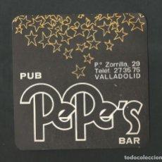 Coleccionismo de vinos y licores: POSAVASO PUB PEPE´S BAR VALLADOLID. Lote 194348143