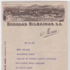Coleccionismo de vinos y licores: MENU BODEGAS BILBAINAS. VINOS FINOS DE RIOJA. CHAMPAN LUMEN. VISTA GENERAL DE LA BODEGA DE HARO.. Lote 194369327