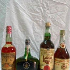 Coleccionismo de vinos y licores: X4 BRANDY DSG SUPERIOR · ARGENTI GRAN RESERVA · LACRE ROJO · CISA COÑAC 0,75 LITROS/1 LITRO. Lote 194639922