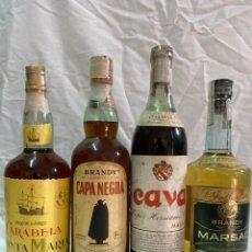 Coleccionismo de vinos y licores: X4 BRANDY CARABELA SANTA MARIA · CAPA NEGRA SANDEMAN · CAVA · MARSAC 0,75 LITROS/1 LITRO. Lote 194640112
