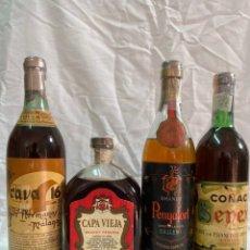 Coleccionismo de vinos y licores: X4 BRANDY CAVA 16 · CAPA VIEJA RESERVA · PENYAFORT GALLEMI · COÑAC SENEX 0,75 LITROS/1 LITRO. Lote 194640776
