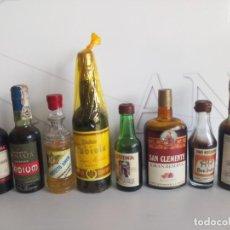 Coleccionismo de vinos y licores: PEQUEÑO BOTELLÍN BRANDY, COÑAC, ANÍS,LICOR, BENEDICTINO, GINEBRA, ETC... Lote 194875001