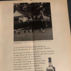 Coleccionismo de vinos y licores: PUBLICIDAD DE REVISTA DE WHISKEY JACK DANIEL'S. ORIGINAL AÑO 1996. TAMAÑO FOLIO. ENMARCABLE.. Lote 195046603