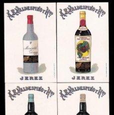 Coleccionismo de vinos y licores: *** LOTE 9 TARJETAS POSTALES DE A.R. VALDESPINO Y HNO. JEREZ ÚNICOS EXPORTADORES A PTO RICO. ***. Lote 195082971
