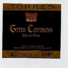 Coleccionismo de vinos y licores: ETIQUETA VINO JAUME SERRA GRAN CORONAS. Lote 195129435