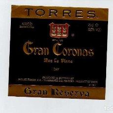 Coleccionismo de vinos y licores: ETIQUETA VINO JAUME SERRA GRAN CORONAS. Lote 195129487