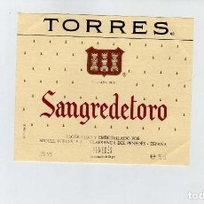 Coleccionismo de vinos y licores: ETIQUETA VINO JAUME SERRA SANGRE DE TORO. Lote 195129562