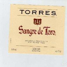 Coleccionismo de vinos y licores: ETIQUETA VINO JAUME SERRA SANGRE DE TORO. Lote 195129627