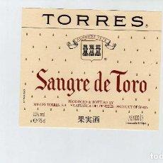Coleccionismo de vinos y licores: ETIQUETA VINO JAUME SERRA SANGRE DE TORO . Lote 195129791