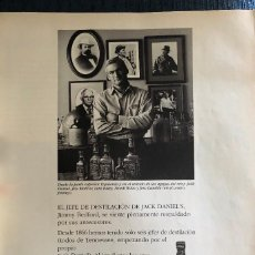 Coleccionismo de vinos y licores: PUBLICIDAD DE REVISTA DE WHISKEY JACK DANIEL'S. ORIGINAL AÑO 1997. TAMAÑO FOLIO. ENMARCABLE.. Lote 195148783