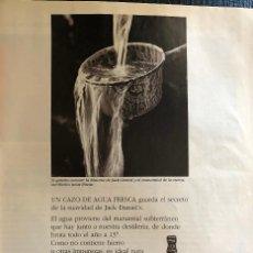 Coleccionismo de vinos y licores: PUBLICIDAD DE REVISTA DE WHISKEY JACK DANIEL'S. ORIGINAL AÑO 1997. TAMAÑO FOLIO. ENMARCABLE.. Lote 195150005