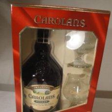 Coleccionismo de vinos y licores: ESTUCHE CAROLANS, BOTELLA Y DOS COPAS.LICOR CREMA DE LECHE IRLANDESA. AÑOS 90. NUEVO.. Lote 196384408