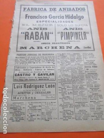 SEVILLA 1947 - MARCHENA ANIS - EL ARAHAL - PARADAS - MORON DE LA FRONTERA - ALGAMITAS (Coleccionismo - Botellas y Bebidas - Vinos, Licores y Aguardientes)