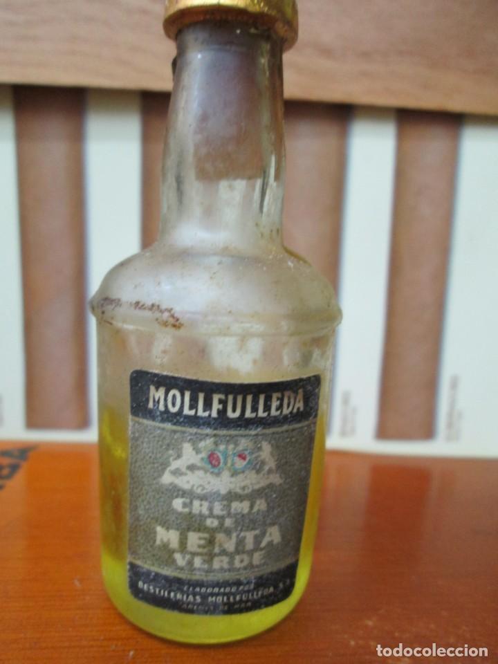 ANTIGUO BOTELLIN, CREMA DE MENTA VERDE MOLLFULLEDA (Coleccionismo - Botellas y Bebidas - Vinos, Licores y Aguardientes)