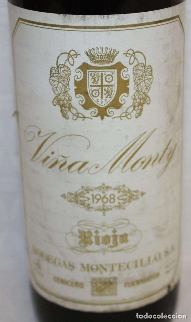 Coleccionismo de vinos y licores: BOTELLA DE VINO TINTO RIOJA - VIÑA MONTY - COSECHA 1968 - Foto 5 - 203202665