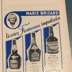 Coleccionismo de vinos y licores: PUBLICIDAD DE PRENSA DE LICORES MARIE BRIZARD. ORIGINAL AÑO 1954. 14 X 35 CM. BUEN ESTADO.. Lote 206287268