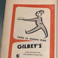 Coleccionismo de vinos y licores: PUBLICIDAD DE PRENSA DE LICORES GILBEY'S. ORIGINAL AÑO 1954. 14 X 35 CM. BUEN ESTADO.. Lote 206288913