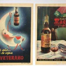 Coleccionismo de vinos y licores: 2 HOJAS PUBLICIDAD ANUNCIO VETERANO Y MAGNO (OSBORNE, 1956) ¡ORIGINALES! COLECCIONISTA. Lote 207546856