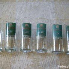 Coleccionismo de vinos y licores: ANTIGUOS 6 VASOS DE CRISTAL PUBLICIDAD GINEBRA ARPON GIN DESTILERÍAS ANTICH BARCELONA DIBUJO ANTIG. Lote 208188010
