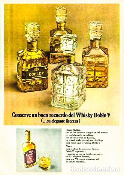 Coleccionismo de vinos y licores: WHISKY DOBLE V AÑOS 70s - LICORERA CON TAPÓN EN CRISTAL - SELLO 8 Ptas. - Foto 5 - 209727490
