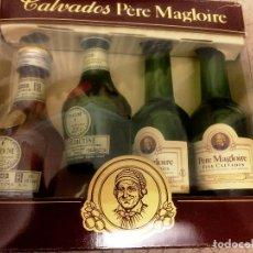 Coleccionismo de vinos y licores: CALVADOS PERE MAGLOIRE- ESTUCHE DE 4 BOTELLINES-. Lote 209728195