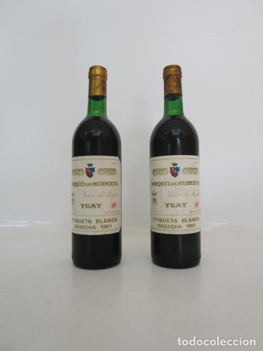 BOTELLAS VINO TINTO - MARQUÉS DE MURRIETA - ETIQUETA BLANCA - YGAY, LOGROÑO - VINOS DE RIOJA - 1981 (Coleccionismo - Botellas y Bebidas - Vinos, Licores y Aguardientes)
