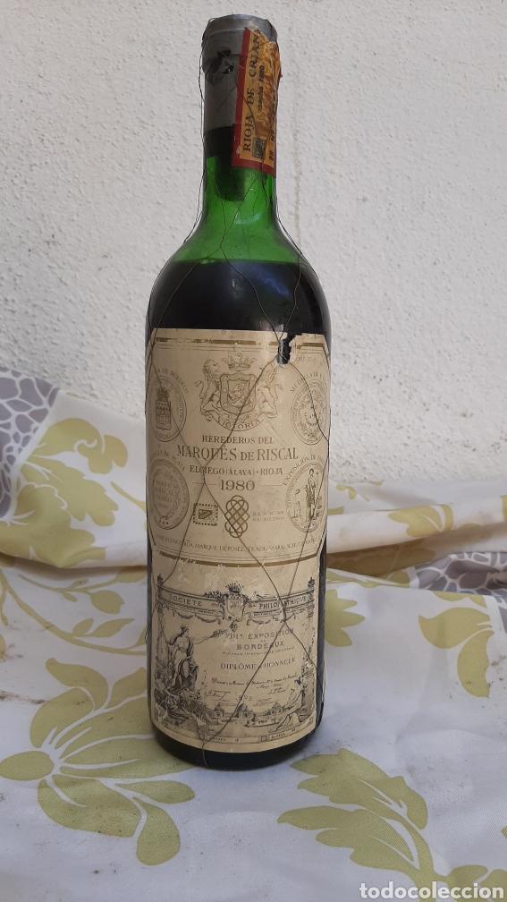 BOTELLA DE VINO HERREDEROS DEL MARQUÉS DE RISCAL ELCIEGO (ALAVA) RIOJA 1980 (Coleccionismo - Botellas y Bebidas - Vinos, Licores y Aguardientes)