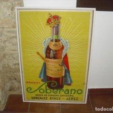Coleccionismo de vinos y licores: ANTIGUO Y GRAN CARTEL SOBERANO GONZALEZ BYASS BRANDY COGÑAC 96 X 66. Lote 211994713