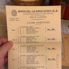 Coleccionismo de vinos y licores: LISTA DE PRECIOS MANUEL DE ARGUESO, VINOS. Lote 214261591