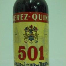 Coleccionismo de vinos y licores: ANTIGUA BOTELLA DE JEREZ QUINA 501 CARLOS Y JAVIER DE TERRY PUERTO DE SANTA MARIA. Lote 217737698