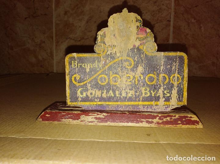 Coleccionismo de vinos y licores: servilletero madera bar brandy soberano gonzalez byass jerez cadiz - Foto 2 - 218508788