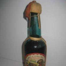 Coleccionismo de vinos y licores: BOTELLA RON RHUM ROM SUPERIOR. FABRICA DE LICORES FINOS LA ALMOZARA ZARAGOZA AÑOS 30. TIMBRE 40 CTMS. Lote 224285723