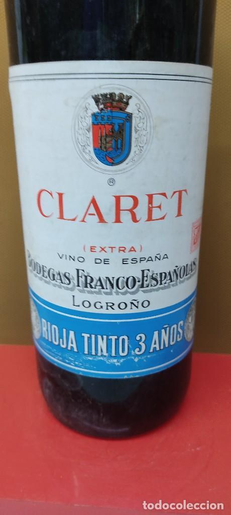 Coleccionismo de vinos y licores: ANTIGUA BOTELLA VINO CLARET DE BODEGAS FRANCO ESPAÑOLAS.RIOJA TINTO 3 AÑOS - Foto 3 - 233482170