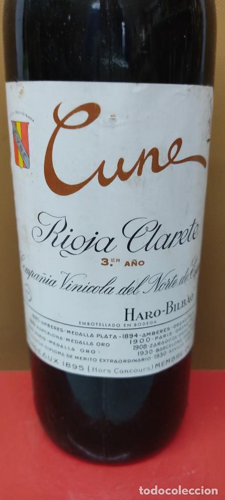 BOTELLA DE VINO CUNE - RIOJA CLARETE 3º AÑO, COMPAÑÍA VINÍCOLA DEL NORTE, HARO. (Coleccionismo - Botellas y Bebidas - Vinos, Licores y Aguardientes)