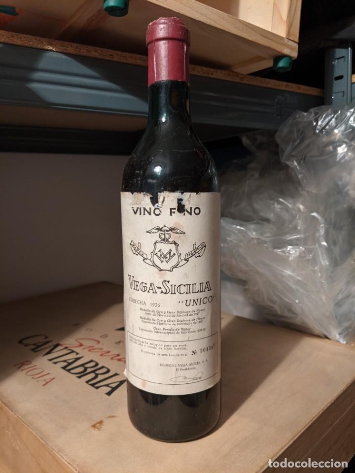VEGA-SICILIA COSECHA 1936. VINO FINO. ÚNICO. (Coleccionismo - Botellas y Bebidas - Vinos, Licores y Aguardientes)