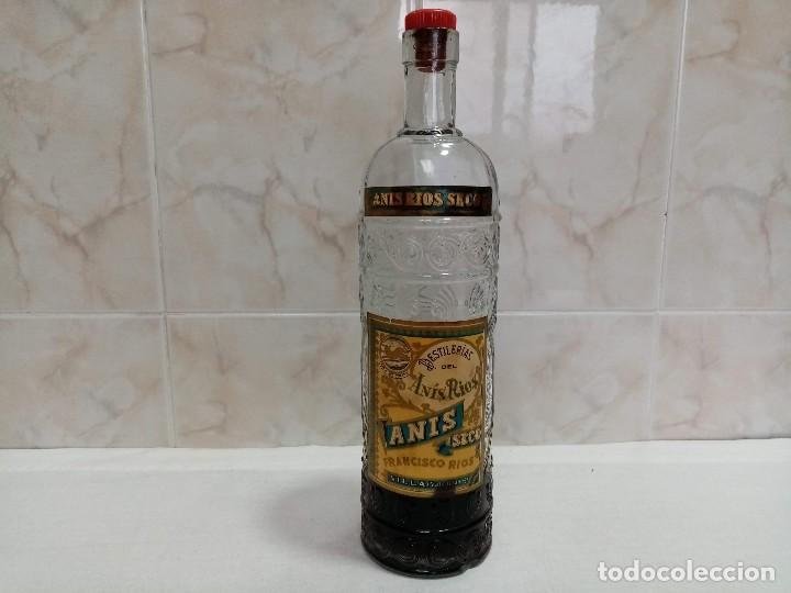 BOTELLA 1 LITRO ANIS RIOS SECO,JOSÉ RIOS FRANCISCO RIOS SILLA (VALENCIA) AÑOS 50 (Coleccionismo - Botellas y Bebidas - Vinos, Licores y Aguardientes)