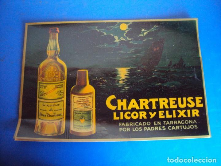 (CHT-38)CHARTREUSE - CARTEL PUBLICITARIO - TRANSPARENTE (Coleccionismo - Botellas y Bebidas - Vinos, Licores y Aguardientes)