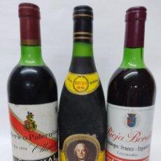 Coleccionismo de vinos y licores: TRES BOTELLAS RIOJA .PATERNINA VIÑA VIAL 1970 FAUSTINI V 1970 Y RIOJA BORDON COSECHA ESPECIAL 1970.. Lote 242353510