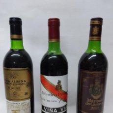 Coleccionismo de vinos y licores: TRES BOTELLAS DE VINO DE RIOJA AÑO 1970.VIÑA ALBINA RESERVA,PATERNINA VIÑA VIAL Y MARQUES DE CACERES. Lote 242978230