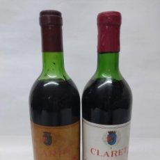 Coleccionismo de vinos y licores: ANTIGUAS DOS BOTELLAS VINO CLARET DE BODEGAS FRANCO ESPAÑOLAS.RIOJA TINTO 3 AÑOS. Lote 253143425