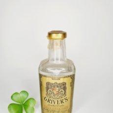 Coleccionismo de vinos y licores: BOTELLITA GINEBRA DRY GIN GRIVER'S 10CM VIDRIO BOTELLIN MINI BOTELLA. Lote 254771645