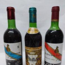 Coleccionismo de vinos y licores: LOTE DE TRES BOTELLAS DE VINO DE RIOJA.PATERNINA BANDA AZUL, PATERNINA 1970 VIÑA VIAL Y CHITON 1973. Lote 260705560