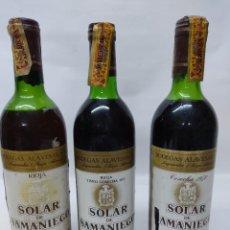 Coleccionismo de vinos y licores: LOTE DE TRES BOTELLAS DE VINO DE RIOJA.SOLAR DE SAMANIEGO.RESERVA 1968, RESERVA 1975 Y RESERVA 1970.. Lote 260705970
