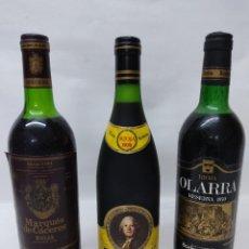Coleccionismo de vinos y licores: 3 BOTELLAS DE VINO DE RIOJA.MARQUES DE CACERES 1970,FAUSTINO V 1970 Y OLARRA GRAN RESERVA 1970.. Lote 260706515