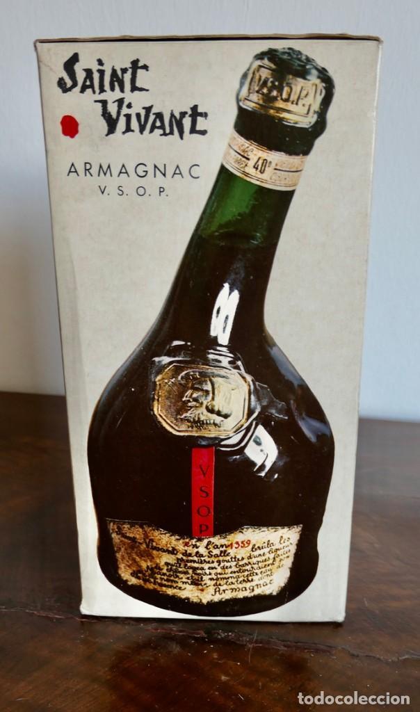 Coleccionismo de vinos y licores: Antigua botella de Brandy Llena y en su Caja - Saint Vivant. Armagnac VSOP - Francia - Foto 11 - 261243960