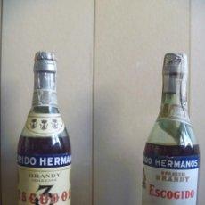 Coleccionismo de vinos y licores: BRANDY FLORIDO HERMANOS MÁS BRANDY 3 ESCUDOS SAN LUCAR DE BARRAMEDA OPORTUNIDAD. Lote 262937820