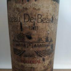 Coleccionismo de vinos y licores: BOTELLA ANTIGUA DE VINO CHATEAU BEAUREGARD DE 1981 BORDEAUX. Lote 295834428