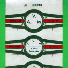 Vitolas de colección: VITOLAS ESPECIAL DE Nº 30 DE TRESE SOCIOS DE LA ASICIACION VITOFILICA DE MADRID . Lote 26063529